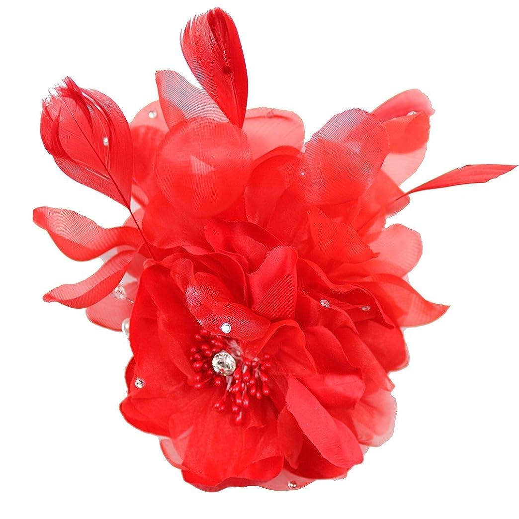 コサージュ 赤 コサージュ フェザー 髪飾り 羽毛 2way ヘッドドレス fham19152rd