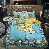 juego de funda de edredón de 3 piezas,Summer Cool Camas transpirables, Minimalistic European Gran versión del requisito impreso Down Quilt Set, pero conjuntos de cinturón de cama de cama doble, regal