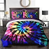 BlessLiving Boho Bed in A Bag Twin Tie Dye Comforter Set 8 Pieces Reversible Blue Purple Bedding Set (1 Comforter, 2 Pillowcases, 2 Pillow Shams, 1 Flat Sheet, 1 Fitted Sheet, 1 Cushion Cover)
