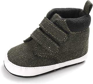 Weixinbuy Infant Baby Boy's Hook and Loop Anti-Slip Soft Sole High-top Sneaker Shoes Prewalker