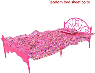 Lindahaot Plastic Mini Bed Miniature Dollhouse Single Bed Floral Lace Sheet House Furniture Kids Toy Random Color