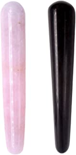 Domika Natural Rose Quartz / Black Obsidian Crystal Massage Wand For Acupuncture Therapy Pointed Stick Tretament Gua Sha Scraping Tool 2pcs (Rose Quartz&Black Obsidian)