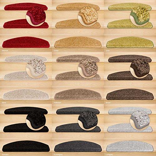 Kettelservice-Metzker Stufenmatten, Treppenteppich Marseille Halbrund - Trittfläche: ca. 65x24cm Lichtgrau 14 Stück