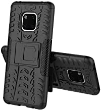 Huawei Mate 20 Pro - Hybrid TPU Armor Silicone Rubber Hard Back Impact Stand Case Cover Black