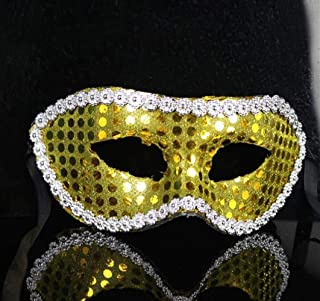 Perfect Party Decoration Holiday Accessories Flat Head Sequined Flower Side Mask Halloween Party Masquerade Mask(Gold)