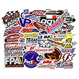 Racing Stickers Pack [50pcs] Laptop Stickers Bomb Stickers and Decals Vinyl Stickers for Luggage Skateboard Phone Case Guitar Car Bike Bumper