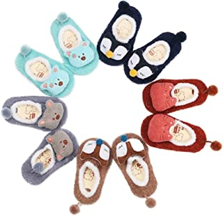 Baby Toddler Girls Boys Socks Cute Cartoon Pompoms Cotton 5 Pack Anti Skid Socks