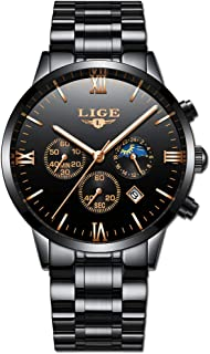 LIGE Relojes Hombre Acero Inoxidable Impermeable Analógico
