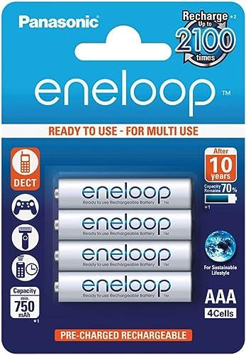 Panasonic Eneloop AAA Micro 750mAh Eneloop NiMH Ready to Use Rechargeable Battery BK-4MCCE (4 Classic Batteries)