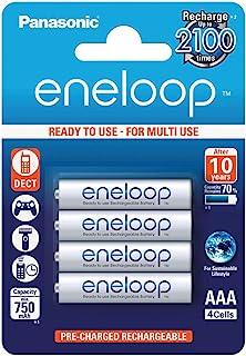 Panasonic eneloop, NiMH-accu gereed voor gebruik, AAA micro, verpakking van 4, 750 mAh, 2100 laadcycli, met hoog vermogen ...