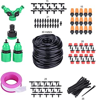 Drip Irrigation Kit with 131.23ft Hose, Garden Irrigation System Greenhouse Drip Irrigation Set, Automatic Saving Water Sy...