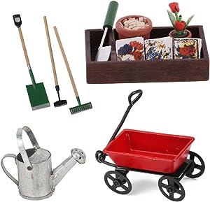 menolana 1/12 Dollhouse Miniature Fairy Garden Horticulture Box & Farming Tools Decor