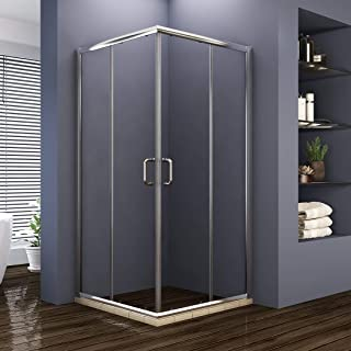 ELEGANT Double Opening Sliding Shower Enclosure, 36'' D. x 36'' W. x 72'' H. 2 Stationary Panel Glass Shower Door, 1/4'' Clear Glass, Chrome Finish