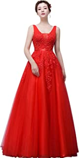 Babyonline Women's Double V-Neck Tulle Appliques Long Evening Cocktail Gowns