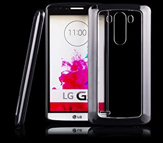 iCues   Compatible with LG G3   TPU Rubber Gel Soft Silicone Bumper Case Clear Back Black  [Screen Protector Included] Cover Shell Shookproof