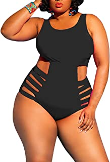 1161e61f6c8b6 Yskkt Womens Plus Size Swimwear One Piece High Waist Swimsuits Tummy  Control Swim Bathing Suits Monokini