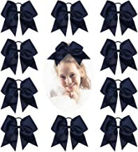 CN Girls Cheerleader Bow with Ponytail Holder for Cheerleading Girl Pack of 10, Navy, 7INCH