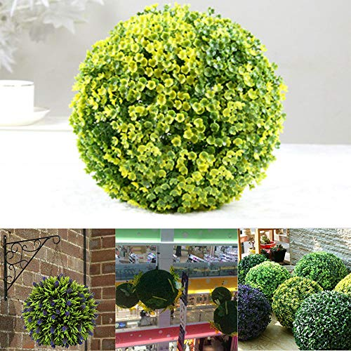 LXING Kunstmatige Paarse Lavendel Hangende Topiary Bal Bloem Plant Decor Mand, Lavendel Lang Blad Topiary Gras Bloembollen - UV-beschermd 30cm/B