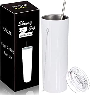 Stainless Steel Skinny Insulated Tumbler with Lid and Straw, 20 OZ Double Vacuum Slim Tumbler Cup, Outdoor Unbreakable Travel Mug for Hot or Cold Drinks with Cleaning Brush (White)