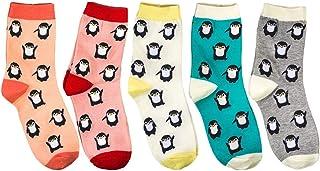 MYhose, MYhose Calcetines de Mujer 5 Pares de Bonitos Dibujos Animados de pingüino con Estampado de Animales Calcetines de algodón para Mujer Regalos de Colores Mezclados