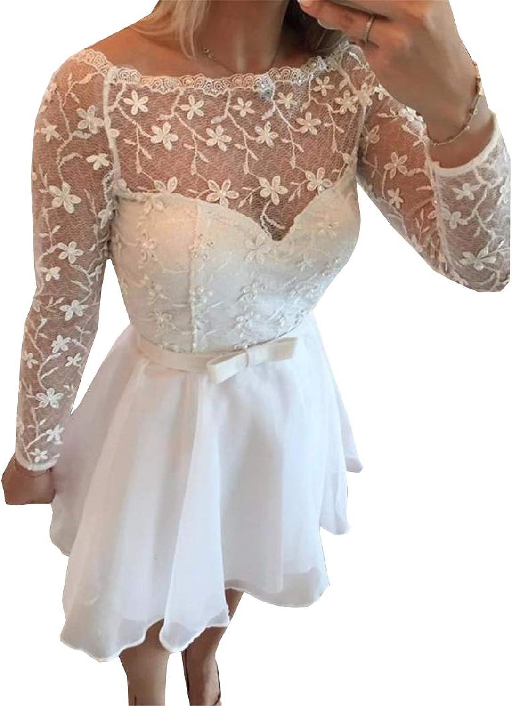 Ellystar Long Sleeves Pearls Bow Homecoming Dresses White Short Prom Dresse