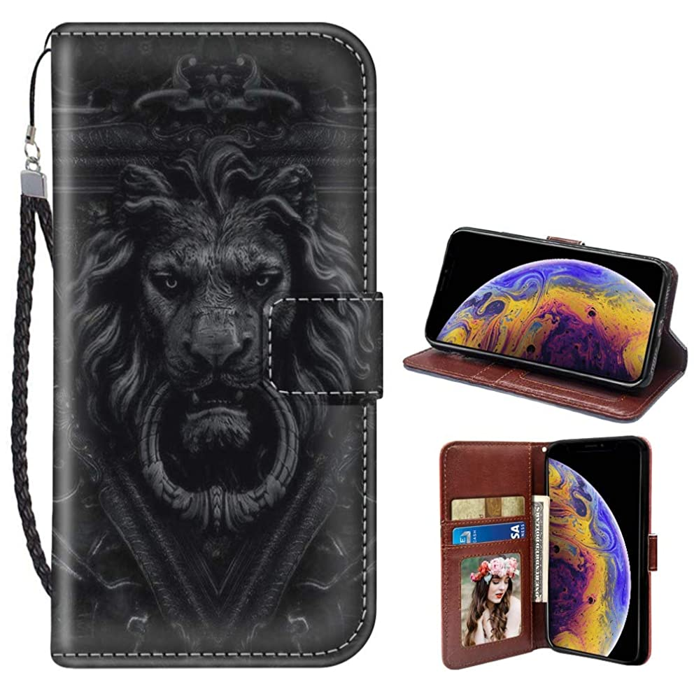 SITUOLI Lion Door Handle iPhone Xr Wallet Case Wrist Strap Standable Kickstand PU Leather Card Holder Phone Case for iPhone Xr