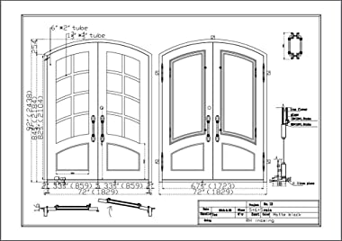 ALEKO IDR7296BK15 Iron Arched Top Minimalist Glass-Panel Dual Door with Frame and Threshold 81 x 62 Inches Matte Black