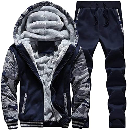 Qiusa Nouveau Pour des hommes SurvêteHommest Ensemble Polaire à Capuche Haut Bas Jogging Joggers Gym Full Zip SurvêteHommests Veste De Sport Pantalon (Couleuré   Style 2-Dark bleu, Taille   grand)