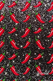 Journal: Faux black glitter chili peppers notebook