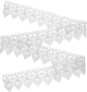 Artibetter Encaje Blanco Encaje Ribete Bordado Vintage Adornos Tela Aplique Costura Artesanal para Bricolaje Vestido de No...