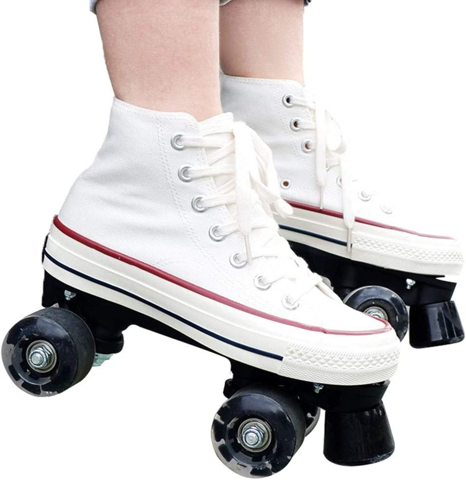 XIHAI Patines En Linea Zapatos De Patinaje De Velocidad para Adultos Patines Neum/áTicos De Poliuretano Resistentes Al Desgaste para Mujer Patin Principiante De Tres Ruedas 35-44,Blanco,35