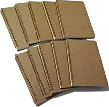 """Softcover Spiral Notebook/Spiral Journal, Kraft Cover, 50 Sheets (100 Pages) Blank Pages, 10 Notebooks Per Pack, A5, 8.5"""" x 5.7"""", Brown"""
