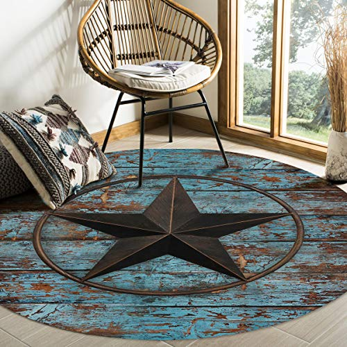Olivefox Round Area Rugs Rustic Wood Door with Southwestern Texas Star Super Soft Indoor Stain-Proof Carpet Floor Mat Anti-Skid Runner Rugs for Home Living Room, Bedroom, Dining Room, 6 Feet
