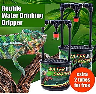 TUDIO Chameleon Lizard Gecko Drinking Fountain Rainforest Cylinder Water Filter Dripper