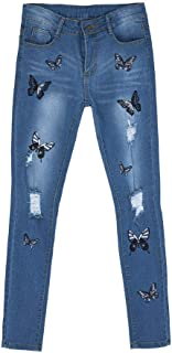 VEZAD Fashion Skinny Jeans Denim Women Mid Waist Stretch Butterfly Embroidered Pants