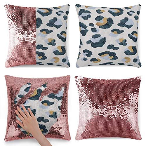 Traasd11an Funda de cojín con lentejuelas con purpurina, estampado de leopardo, funda de cojín con cremallera oculta, funda de almohada para sofá de cama, habitación de 40,6 cm, color rosa