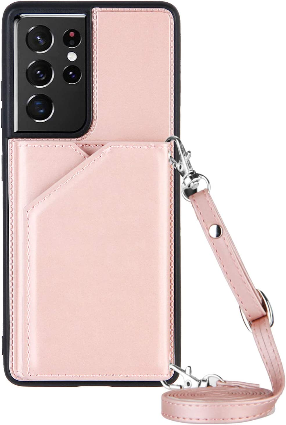 Galaxy S21 Ultra Case for Samsung S21 Ultra 5G Crossbody Case, Shockproof Stand TPU Bumper Cover, Lanyard Wallet Case 6.8