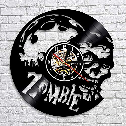 BFMBCHDJ Personlized Zombie Skull LED Wanduhr Moderne Zombie Silhouette Vinyl Rekordzeituhr Einzigartiges handgemachtes Geschenk für Jungen mit LED 12 Zoll