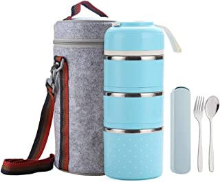 WORTHBUY Bento Lunch Box Stainless Steel Leakproof Food Storage Containers with Insulated Lunch Bag for Adult and Office (Blue,3 tier)