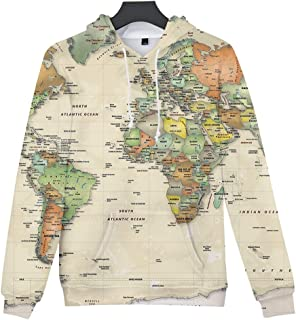 Drawstring Hoodie for Womens Autumn Long Sleeve O Neck World Map Printing Casual Hooded Sweatshirt with Pocket Tops