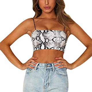 KINGSEVEN Women Sexy Snakeskin Tank Top Spaghetti Strap Crop Top Tight Camisole Tube Top for EDM Party Club