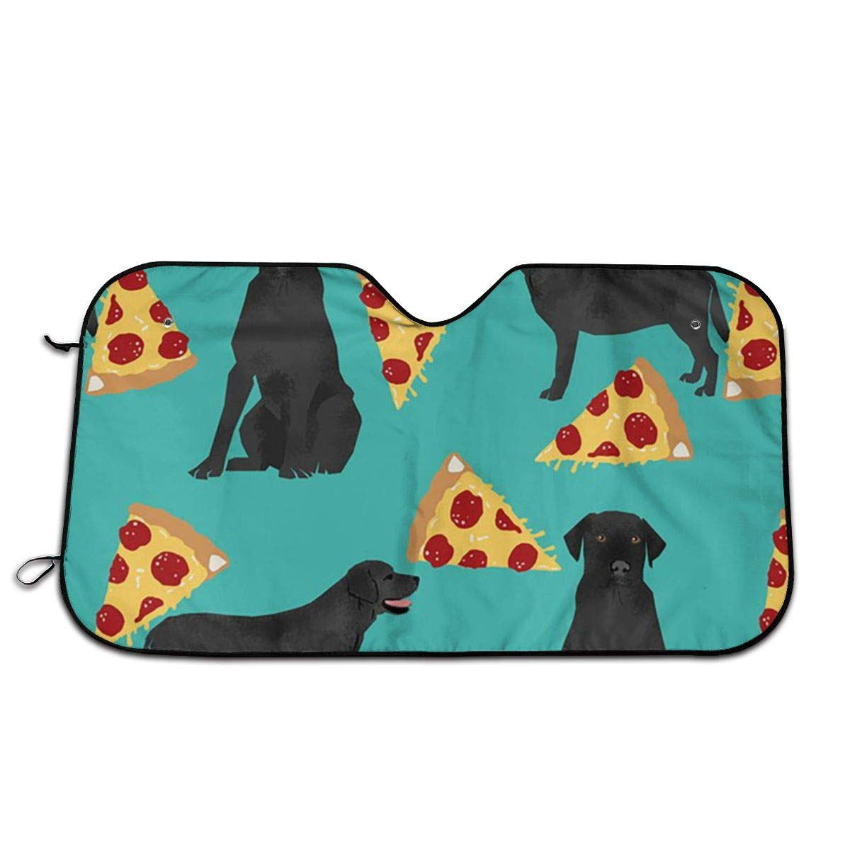 Inventory cleanup selling sale Durable Car Sunshade Black Lab Max 84% OFF Windwhield Shades Sun Auto Pizza