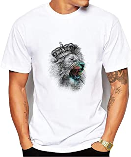 Generic Brands gShopVV Mens Womens Fashion Crown Lion T-Shirt White XXX Large