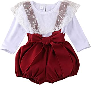 Hibobi Toddler Baby Girl Suspenders Pant Set, Lace Long Sleeve Ruffles Shirt Overall Outfits