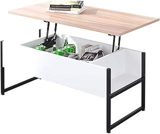 Table Basse relevable Bureau avec Grand Rangement caché pour Bureau de Salon (chêne)