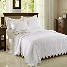 Cotton White Quilted Bedspread with 2 Pillowcase Lace Patchwork Floral Quilt Throw Set Soft Coverlet, White, 240 * 260cm