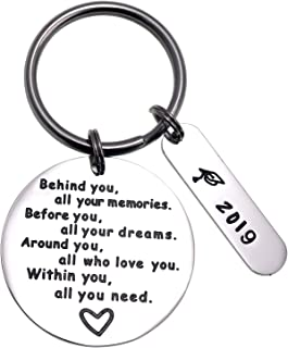 LParkin College Graduation Gifts for Her 2019 2020 Behind You All Your Memories GraduInspirational Graduates Key Chains Inspirational Gifts for Womenation Keychain
