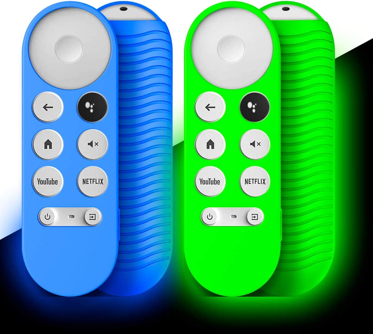 [2-Pack] Silicone Cover for Chromecast Google TV 2020 Voice Remote, WQNIDE Protective Shockproof Anti-Lost Remote with Lanyard (Glowing Blue and Glowing Green)
