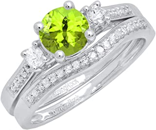 10K 6 MM Round Gemstone, White Sapphire & Diamond Ladies 3 Stone Engagement Ring Set, White Gold
