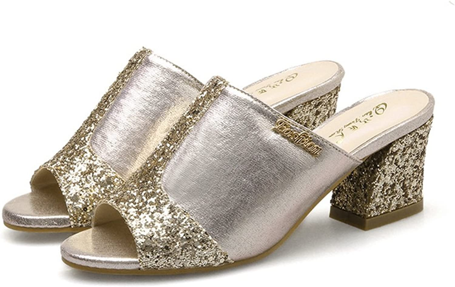 Zarbrina Womens Heeled Sandals Sequins Peep Toe Mid High Block Wedge Party shoes Non-Slip Slides Slippers